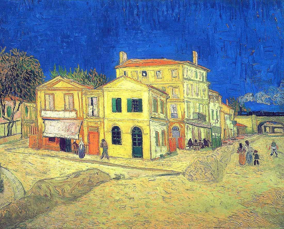 """La Casa Amarilla - The Yellow House - Vincent Van Gogh -  Van Gogh Museum, Ámsterdam, La casa de Vincent en Arles, septiembre de 1888. Esta casa es para Vincent mucho más que un lugar de trabajo, es una esperanza: la de poder crear por fin un taller con la ilusión de que pudiese convertirse en el """"estudio del sur"""" en el que los artistas podrán trabajar juntos, inventar juntos la pintura del futuro. Van Gogh vivió allí menos de seis meses, desde el 18 de septiembre de 1888 hasta el 9 de febrero de 1889. Antes de nada, para poder mudarse a esta casa amarilla le hace falta una cama; pero el vendedor de muebles no acepta alquilarle una ni que le paguen a crédito. Queda esperar el dinero de Theo... Vincent está persuadido de que «los cuadros impresionistas subirán», de que «el capital desembolsado volverá a nuestras manos, si no en dinero, en valores».  «Pues bien, hoy he alquilado el ala derecha de esta construcción, que tiene cuatro habitaciones, o más bien dos con dos gabinetes. Está pintada de amarillo por fuera y encalada por dentro, y a pleno sol. La he alquilado a razón de quince francos al mes. Ahora mi deseo sería amueblar la habitación, la del primer piso, para poder dormir allí. (...) Espero haber acertado esta vez, ya sabes —amarillo por fuera, blanco por dentro, a pleno sol, por fin podré ver mis cuadros en un interior bien claro.» A Theo, 1 de mayo de 1888 (Cartas a su hermano Theo)"""